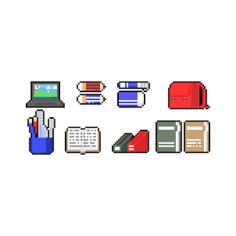 Pixel art cartoon bildung icon design set.
