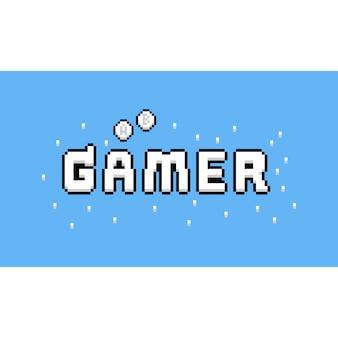 Pixel art cartoon gamer textdesign.