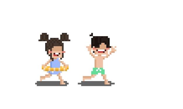Pixel-art-cartoon-kinderfigur mit badeanzug