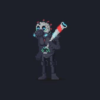 Pixel-art-cartoon-kybernetischer schädel-punk-charakter