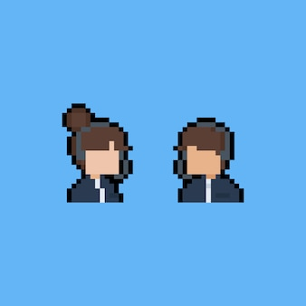 Pixel art cartoon operator charakter icons.