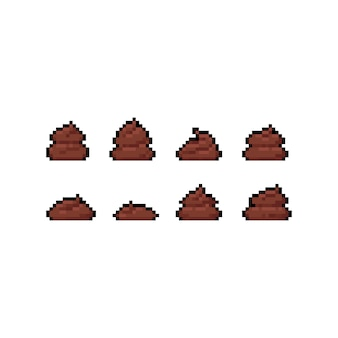 Pixel art cartoon poop icon set.