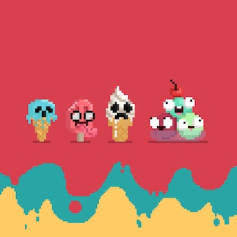 Pixel-art-cartoon-set mit gruseligem eischarakter
