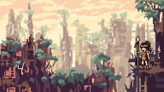 Pixel art city katastrophe