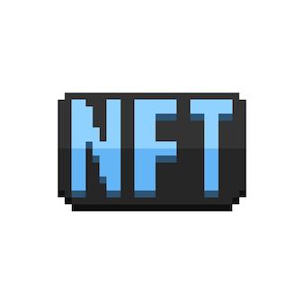 Pixel art glänzender blauer nft-text auf schwarzem plattensymbol