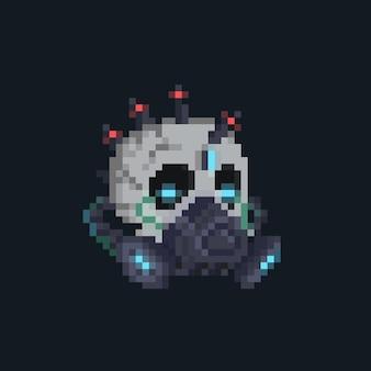 Pixel art gruseliger cyber-punk-schädelkopf mit gasmaske