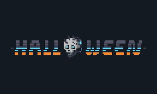 Pixel-art-halloween-cyber-punk-textdesign mit cyborg-schädelkopf