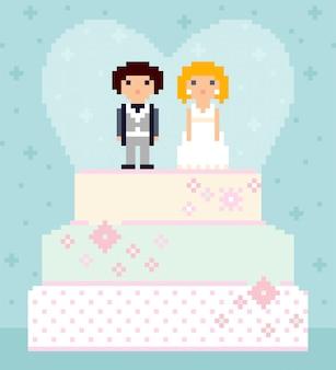 Pixel art hochzeitstorte mit paar an der spitze. nette charaktere, braut und bräutigam. herz auf hintergrund. 8-bit-abbildung.
