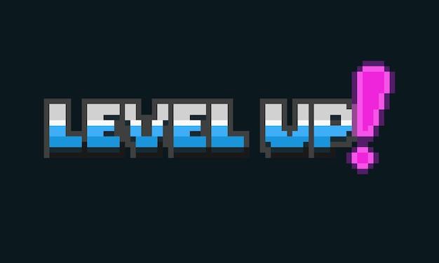 Pixel-art-level-up-textdesign im retro-stil der 80er jahre