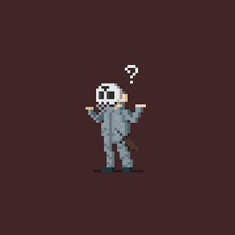 Pixel-art-mordfigur, die tut, was sie komponiert