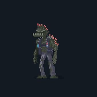 Pixel art punk-fischmann-monster-charakter
