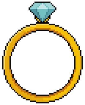 Pixel art ring mit diamant-bit-spielikone auf weißem hintergrund