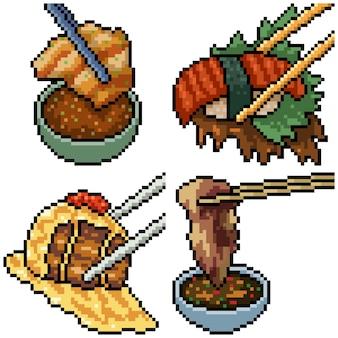 Pixel art set isoliert asiatische essstäbchen essen