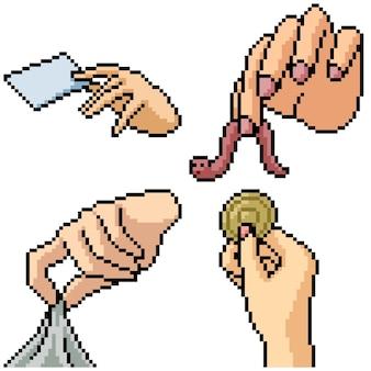 Pixel art set isolierte hand kommissionierung