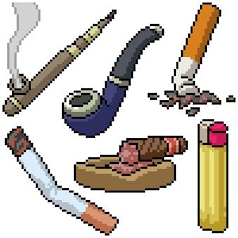 Pixel art set isolierte rauchrohr
