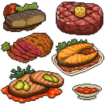 Pixel art set isolierte steak mahlzeit