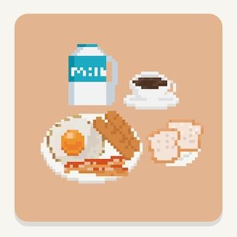 Pixel-art-set von frühstückssymbolen