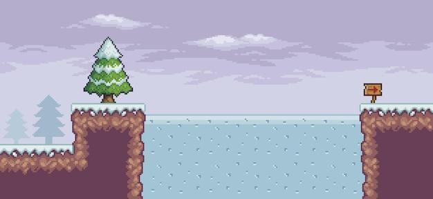 Pixel-art-spielszene im schnee mit kiefern gefrorenen seewolken indikativer pfeil 8-bit-hintergrund