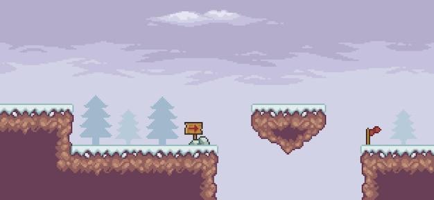 Pixel-art-spielszene im schnee mit schwimmenden plattform-kiefernwolken und 8-bit-hintergrund