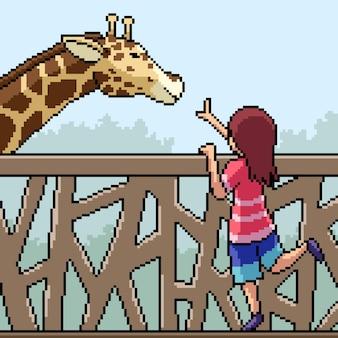 Pixel art szene kind spielen mit giraffe