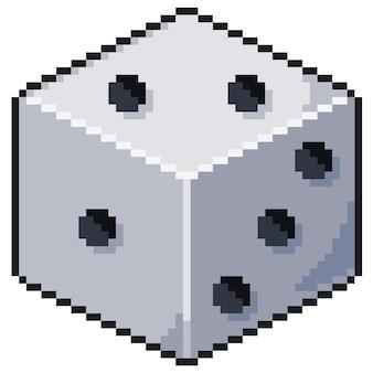 Pixel art würfel bit spiel symbol weißer hintergrund