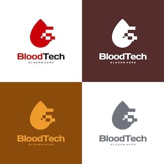 Pixel blood logo symbol, blood healthcare logo design template, blood technology logo design konzept vektor