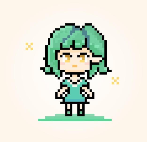 Pixel-charakter-elf mit grünem haar süßes anime-mädchen