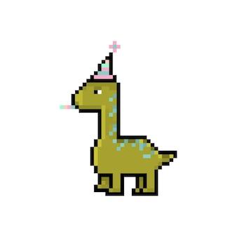 Pixel dinosaurier niedlichen charakter alles gute zum geburtstag feiertagskarte retro-stil