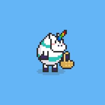 Pixel einhorn mit fantastischem osterei-kostüm