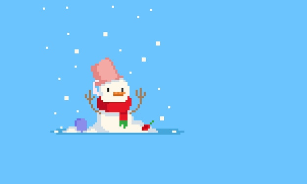 Pixel einsamer schneemann mit schneefall