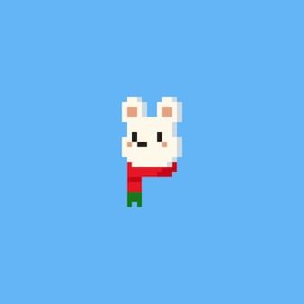 Pixel eisbär kopf mit rotem schal