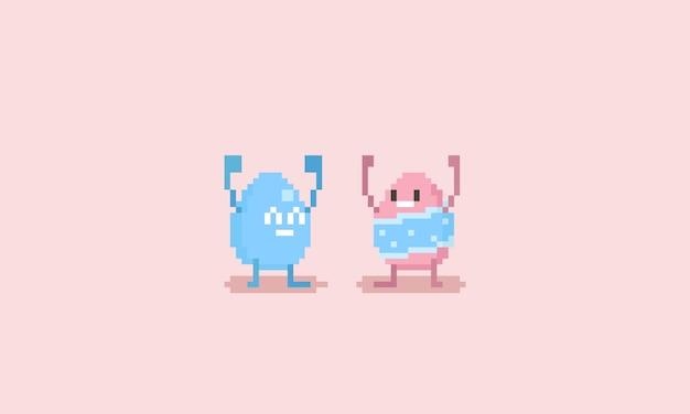 Pixel-fröhlicher osterei-charakter