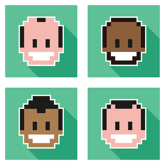 Pixel gesichter zeichen design elements collection