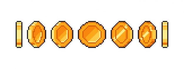 Pixel goldmünze animation für bit retro-spiel, golden pixelige münzen isoliert.