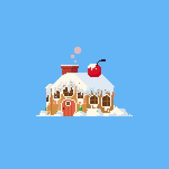 Pixel großes lebkuchenhaus
