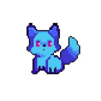 Pixel heller blauer fuchs süße tierkunst für spiele und webdesign-druck