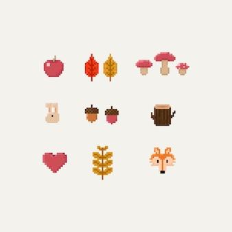 Pixel Herbstelemente.