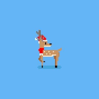 Pixel hirsch mit weihnachtsmütze und schal.