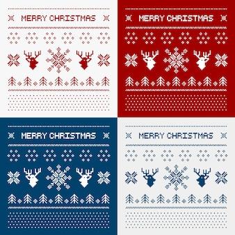 Pixel hirsche und weihnachtsbäume
