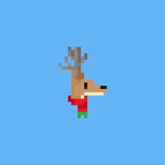 Pixel-hirschkopf mit weihnachtsschal