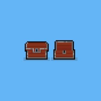 Pixel holz schatztruhe.8bit spiel-symbol.