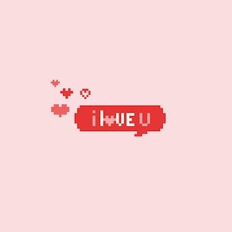 Pixel ich liebe dich sprechblase. valentinstag
