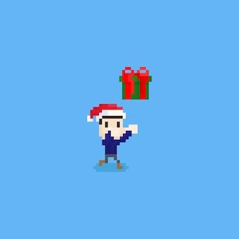 Pixel junge hat eine weihnachtsgeschenkbox