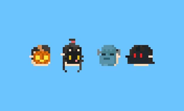 Pixel junge und mädchen kopf mit halloween-maske