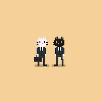 Pixel-katzen-büroangestellter