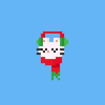 Pixel-katzenkopf mit rotem schal und ohrwärmer. weihnachten, 8bit.
