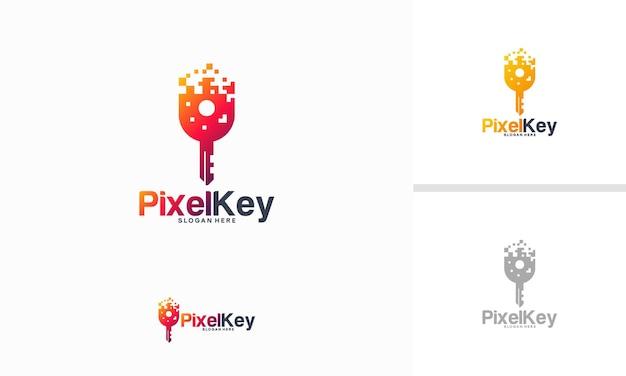 Pixel key-logo entwirft konzeptvektor, schlüsseltechnologie-logo-vorlage