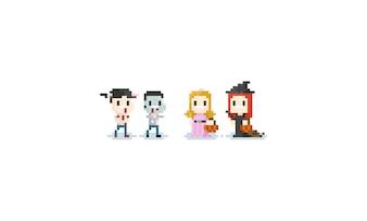 Pixel Kinder in Halloween-Kostüm