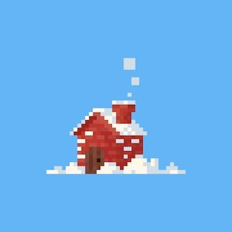 Pixel kleines haus mit schnee. weihnachten