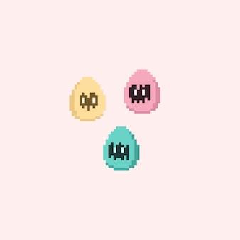 Pixel knacken eier mit gesicht